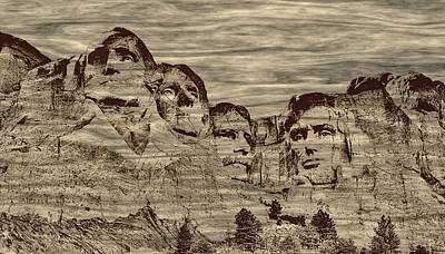 Mount Rushmore Woodburning Art Print