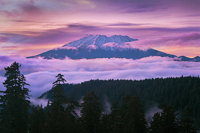 Scenic Photograph - Mount Saint Helens Sunset by David Gn