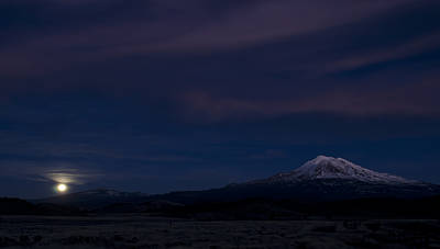 Photograph - Mount Shasta Moonrise by Loree Johnson