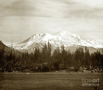Photograph - Mount Shasta With Snow Circa 1910 by California Views Mr Pat Hathaway Archives