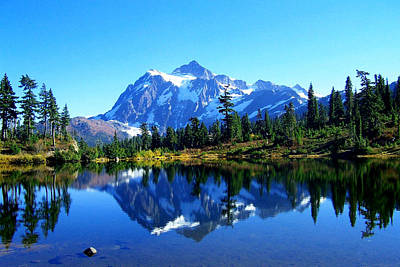 Mount Shuksan And Picture Lake Art Print by Lynn Bawden