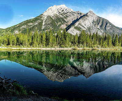 Photograph - Mount Skogan Reflected In Mount Lorette Ponds, Bow Valley Provin by David Butler