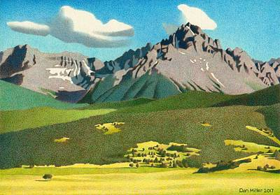 Drawing - Mount Sneffels Summer by Dan Miller