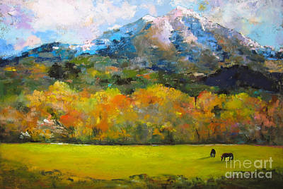 Mountain Laurel Painting - Mount Sopris With Horses by Laurel Astor