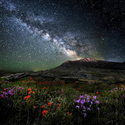 Photograph - Mount St Helens Milky Way Eruption Last Light by Wes and Dotty Weber