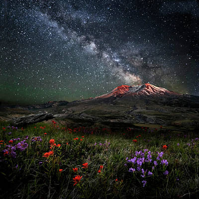 Photograph - Mount St Helens Milky Way Eruption by Wes and Dotty Weber