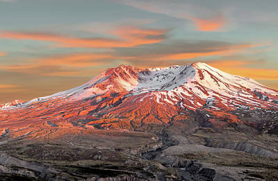 Robert Bellomy Royalty-Free and Rights-Managed Images - Mount St Helens Sunset Washington State by Robert Bellomy
