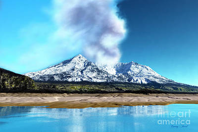 Burnt Digital Art - Mount St. Helens Volcano by Corey Ford