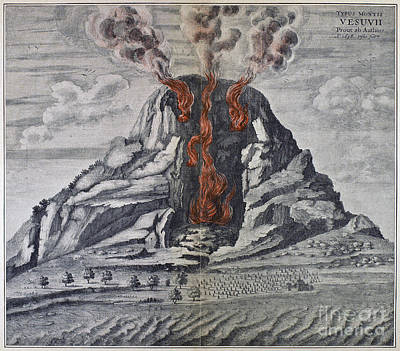 Photograph - Mount Vesuvius, 1665 by Granger