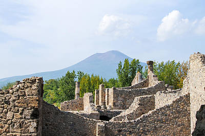 Mount Vesuvius Beyond The Ruins Of Pompei Art Print
