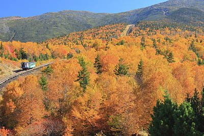 Photograph - Mount Washington Cog Railroad Fall Foliage by John Burk