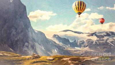 Mountain Air Balloons Art Print