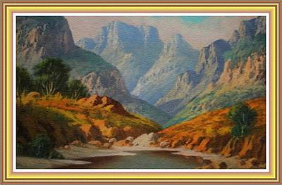 Vermeer Rights Managed Images - Mountain and River Landscape H B With Decorative Ornate Printed Frame. Royalty-Free Image by Gert J Rheeders