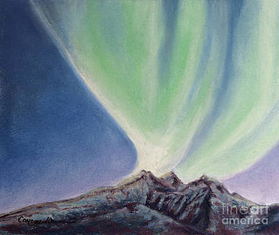 Art Print featuring the painting Mountain Aurora by Stanza Widen