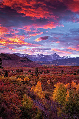 Golden Photograph - Mountain Autumn Sunrise by Andrew Soundarajan
