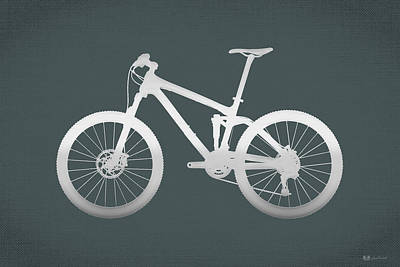 Digital Art - Mountain Bike Silhouette - Silver On Volcanic Rocks Gray Canvas by Serge Averbukh