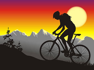 Mountain Bike Painting - Mountain Biker Color Blast Graphic by Elaine Plesser
