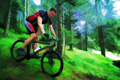 Mountain Biking Painting - Mountain Biker In The Forest Bright Colors by Elaine Plesser