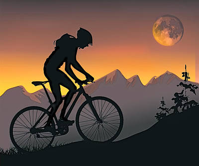 Mountain Bike Painting - Mountain Biker  On Steel Hill At Sunset by Elaine Plesser