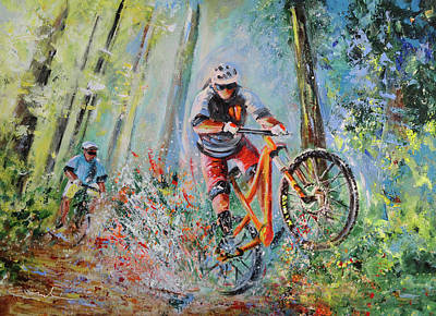 Painting - Mountain Biking 01 by Miki De Goodaboom