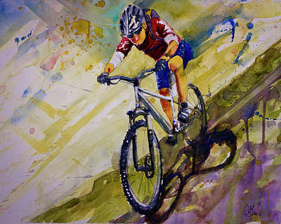 Painting - Mountain Biking  by Gray Artus