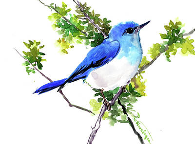 Painting - Mountain Bluebird Artwork by Suren Nersisyan