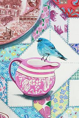 Painting - Mountain Bluebird At Tea by Jennifer Lake
