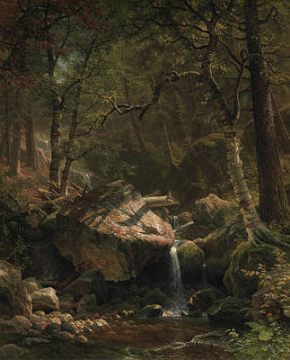 Pouring Painting - Mountain Brook by Albert Bierstadt