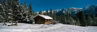 Mountain Cabin And Snow Covered Forest Print by Panoramic Images