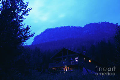 Mountain Cabin At Dusk Original by Kim Lessel