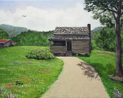 Art Print featuring the painting Mountain Cabin by Jimmie Bartlett