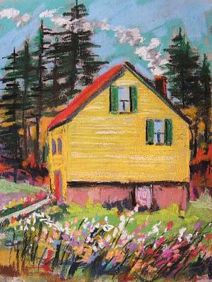 Red Roof Drawing - Mountain Cabin by John Williams