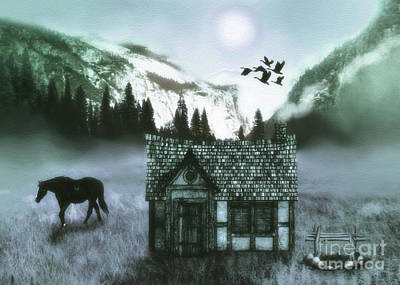Snowy Trees Mixed Media - Mountain  Cabin by KaFra Art