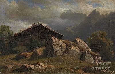 Mountain Cabin Near Frenieres Art Print