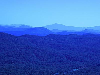 Mountain Range - Impression In Blue Art Print by Barbara Zahno