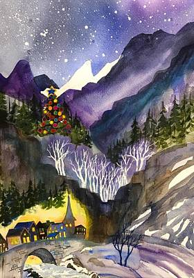 Painting - Mountain Christmas by Esther Woods