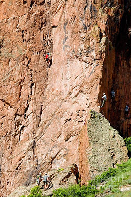 Photograph - Mountain Climbers In Garden Of The Gods And Pikes Peak by Steve Krull