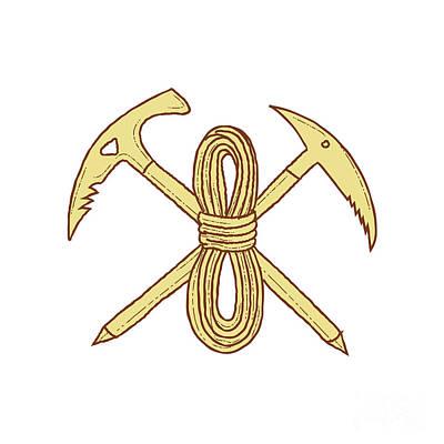 Pick Axe Digital Art - Mountain Climbing Pick Axe Rope Crossed Drawing by Aloysius Patrimonio