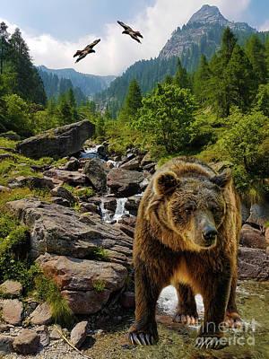 Grizzly Bear Mixed Media - Mountain Creek by KaFra Art