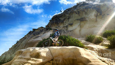 Photograph - Mountain Cyclist Admires The Views From The Historic Mountain by Nika Lerman