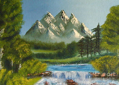 Painting - Mountain Falls by Marianne NANA Betts