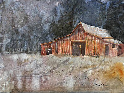 Old Barn Drawing - Mountain Farm Morning by Barry Jones