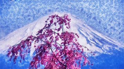 Photograph - Mountain Fuji And Sakura Bloom. Spring Fantasy by Jenny Rainbow