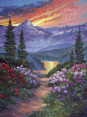 Painting - Mountain Garden Path by David Lloyd Glover