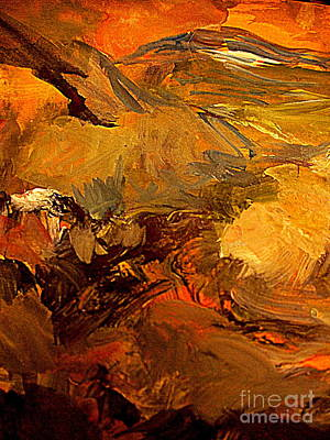 Red Green And Gold Abstracts Painting - Mountain Glow by Nancy Kane Chapman