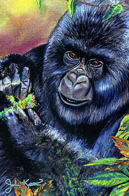 Animals Drawings - Mountain Gorilla by John Keaton
