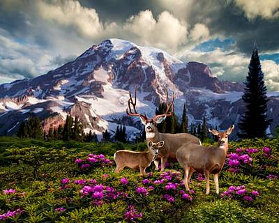 Buck And Doe Painting - Mountain High Meadow by Ron Chambers