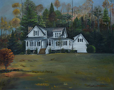 Painting -  Mountain Home At Dusk by Jan Dappen