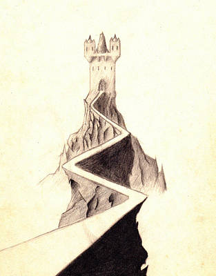 Drawing - Mountain Keep by Guy Pettingell