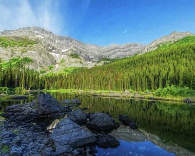 Photograph - Mountain Lake Alberta Canada Painterly by Joan Carroll